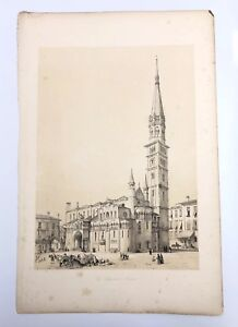 1843-G-Moore-Lithograph-Architecture-of-Italy-The-Cathedral-At-Modena-Church