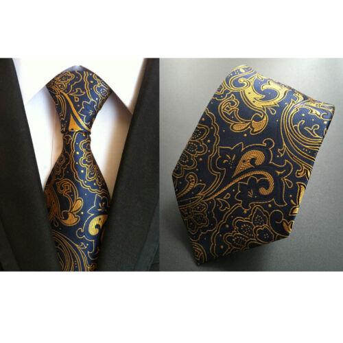 Men Blue Yellow Floral Paisley Silk Necktie Cravat Ascot Handkerchief Set Lot
