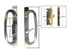"Patio Door Handle Set Mortise Lock, Brushed Chrome, Keyed, 3-15/16"" Screw Holes"
