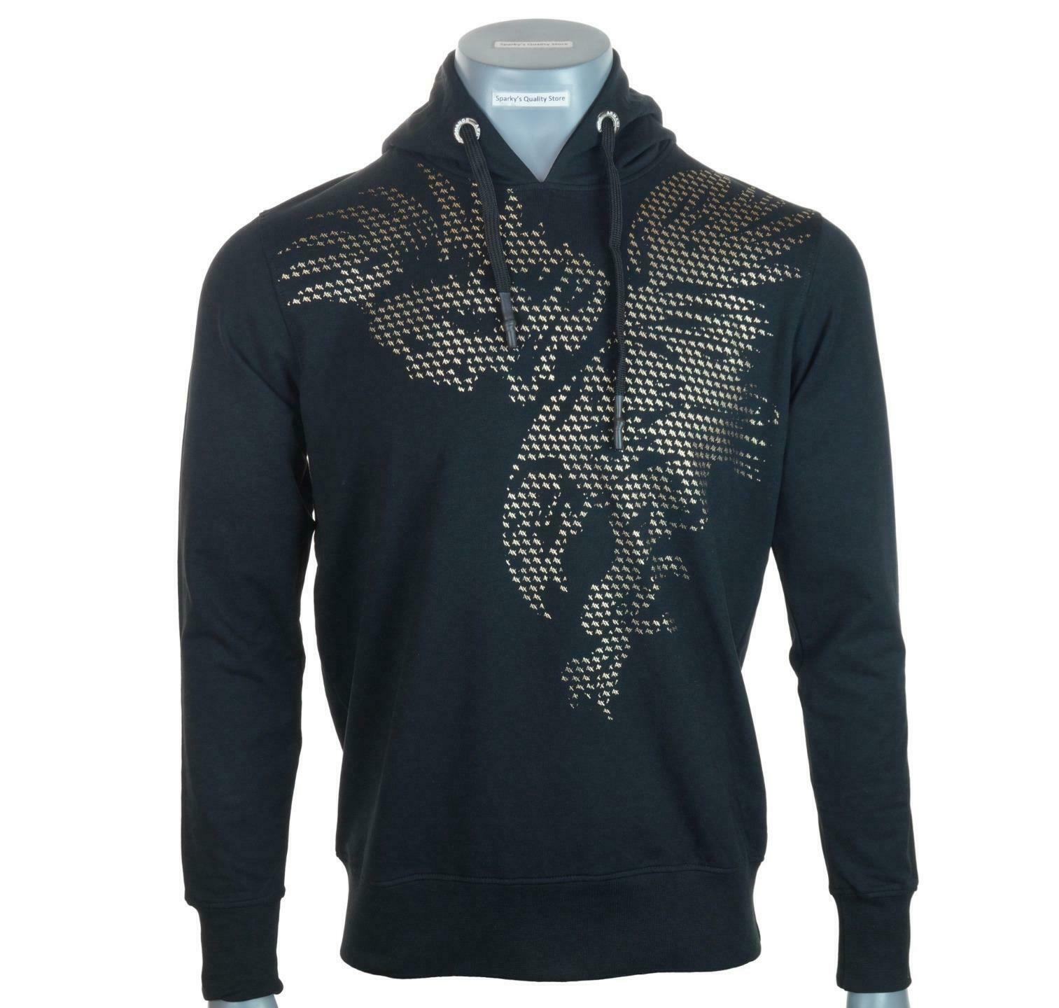 New Men's Authentic Armani Exchange Stretch Hoodie Gold Foil Print Black Eagle