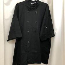 Edwards Black Chefs Coat Shirt Short Sleeves Double Breasted Sz 3xl Server