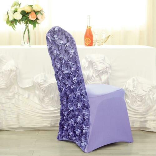 5 PCS Satin Rosette Stretch Banquet Spandex Chair Cover Dinning Slipcover