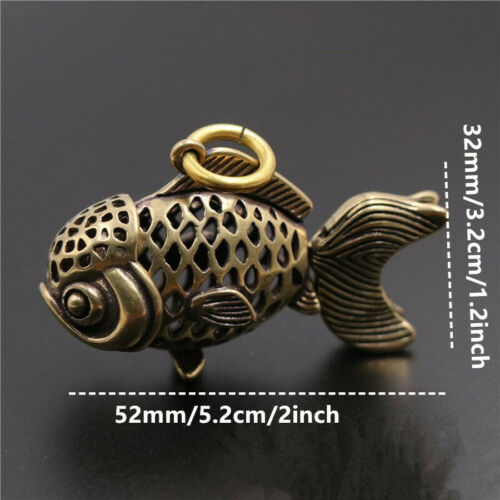 3pcs Brass hollow fish pendant bag clothes jewelry leather craft knight lucky