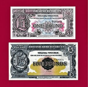 BRITISH-ARMED-FORCES-1950-2nd-Serie-NOTES-1-POUND-UNC-PM22-amp-5-POUNDS-P-M23-F
