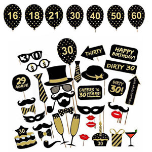 16-18-21st-30-40-50-60th-36pc-anniversaire-fete-photo-booth-props-Parti-Favor-Decor