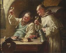 Fritz Wagner Antique Fine Oil Painting of Two Monks Drinking Wine Signed