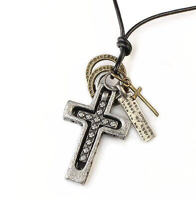 N107 Herren Halskette Lederkette Kreuz Tag Surferkette Leather Necklace Cross Modernes Design