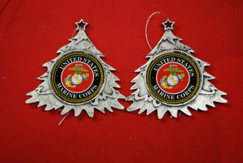 USMC Marine Corps Plastic Tree or Wreath  Shaped Ornament