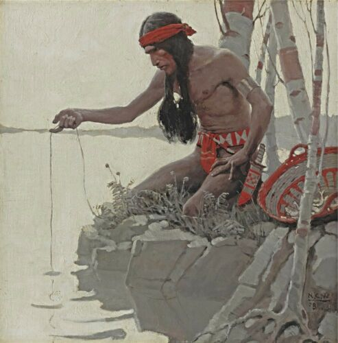 "Indian fishing Native American 14/""x14/"" ART Print Wyeth Artwork 1908 N.C"