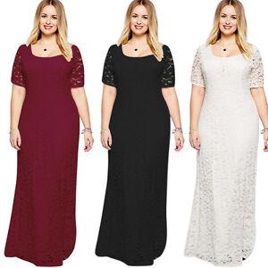 Women Lady Party Evening Lace Short Sleeve Long Maxi Dress Plus Size ... 9c3d7687ef10