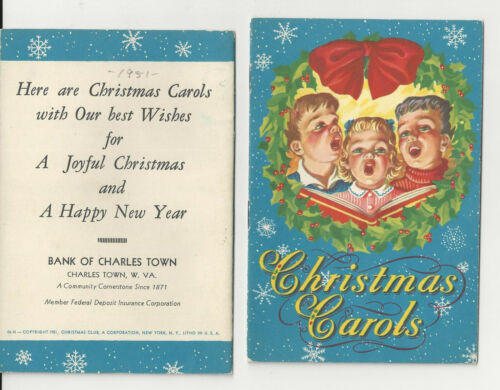 10 Songs 1951 CHRISTMAS CAROLS Bank Of Charles Town WV - -Very Limited Supply