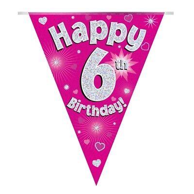 Romantico Cuori Rosa Olografico Felice 6th Compleanno Bandiera Striscione Di Bandierine | | Decorazione-mostra Il Titolo Originale Materiale Selezionato