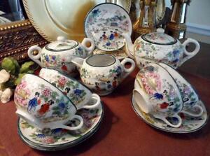tea set vintage 13 pc geisha girl floral oriental porcelain made in japan. Black Bedroom Furniture Sets. Home Design Ideas