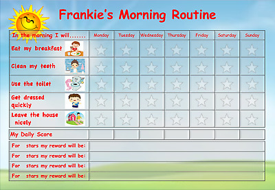 including FREE Star Stickers and Pen Morning Reward Chart Blue