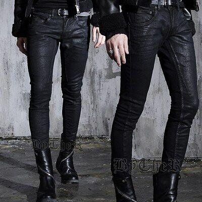 BytheR Men's Detroit Cut Coating Black Fashion Skinny Pants P000BFQM