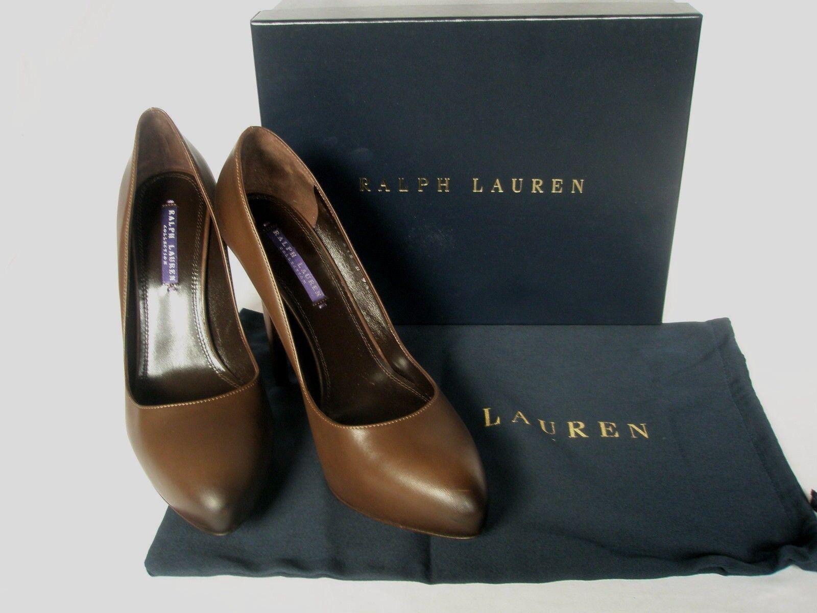 NEW RALPH LAUREN Ladies BENITA Brown Leather Court shoes UK 5.5 EU 38.5 8.5