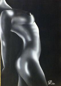 Dibujo de una niña desnuda # 118. Aerografía.