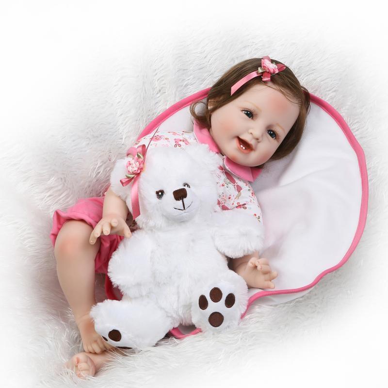 Fibra de hecho a mano pelo arraigado 22  mano realista Muñeca Reborn Bebé niñas recién nacido Regalos