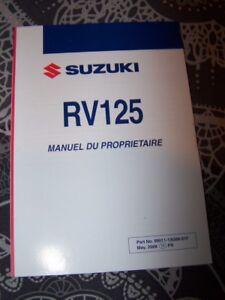 Agressif Kc Manuel Utilisateur/conducteur Entretien Owner Manual Suzuki Rv125 Rv 125 Doux Et AntidéRapant