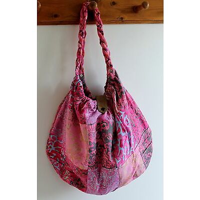 NEW LADIES WOMENS HAND SHOULDER TOTE BEACH PATCHWORK FABRIC BAG IN PINK / BAGPI