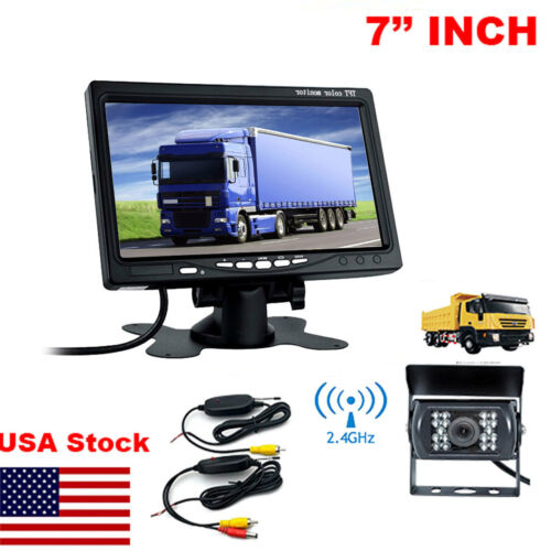 """7/"""" Monitor for RV Truck+Wireless IR Rear View Back up Camera Night Vision System"""