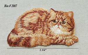 Laid down lt brown persian fluffy kitty cat iron on embroidered