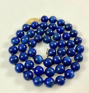 14K-Yellow-Gold-Clasp-amp-Individually-Knotted-Lapis-Lazuli-Beads-Beaded-Necklace