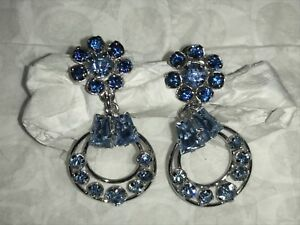 Vintage Star-Art Sterling Silver Screw Back Earrings Blue Stones