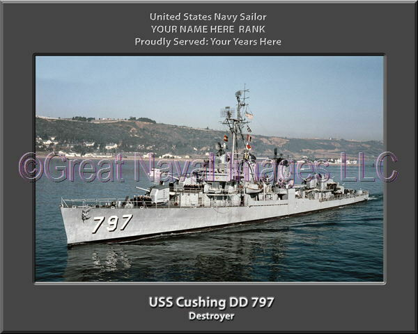 USS Cushing DD 797 Personalized Canvas Ship Photo Print Print Print Navy Veteran Gift 97d9cf