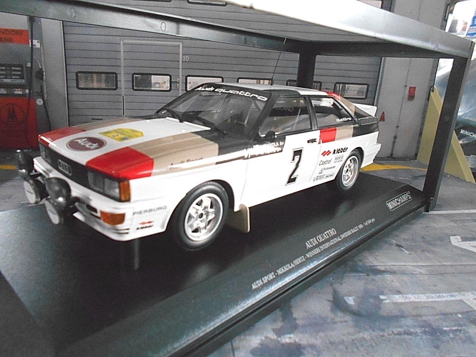 AUDI QUATTRO RALLYE taille 4 Suède coupe du monde 1981  2 Mikkola Hertz WIN MINICHAMPS 1 18