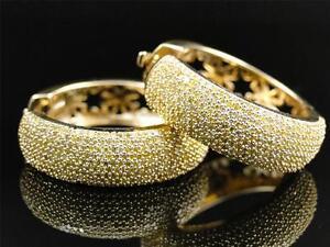 10k-Yellow-Gold-Womens-Ladies-Canary-Yellow-Pave-Diamond-Hoop-Huggie-Earrings