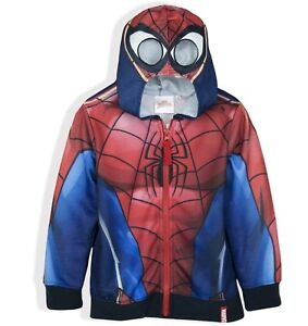 Spiderman Marvel Boys Polar Fleece Lined Warm Jacket Coat All Season 2-8 Years