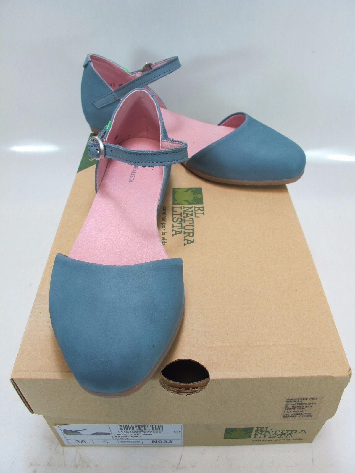 EL NATURALISTA Damenschuhe STELLA Piece N033 Blau Leder Two Piece STELLA Ballet Flat US 7 514201