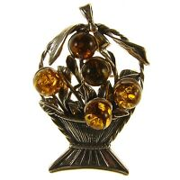 Baltic Amber Sterling Silver 925 Ladies Fruit Bowl Brooch Pin Jewellery Jewelry