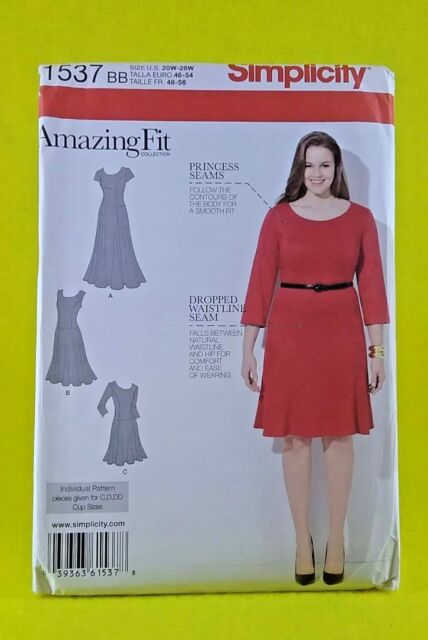 New Simplicity 1537 Amazing Fit Dress Princess Seams 3 Lengths Slim Curvy 20-28W