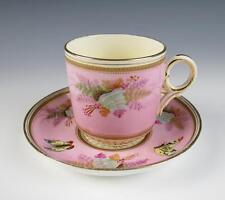 Antique Porcelain Cup Saucer HP Butterflies Ferns Raised Gold English Butterfly