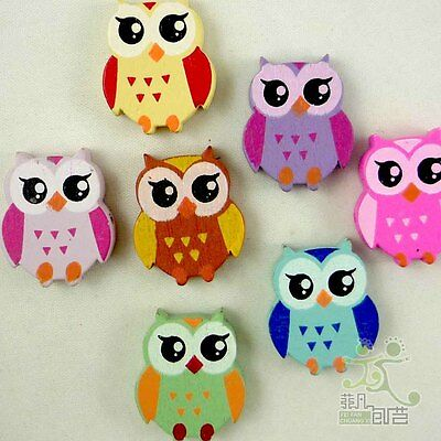 10/100pcs mixed colors cute owl birds wood flatback/Beads 22x18MM craft DIY-B