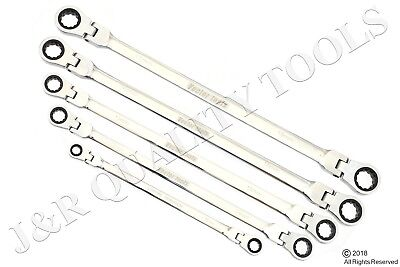 5pc Flex-Head Double Box End Ratcheting Wrenches CrV XL Design MM 8mm - 19mm