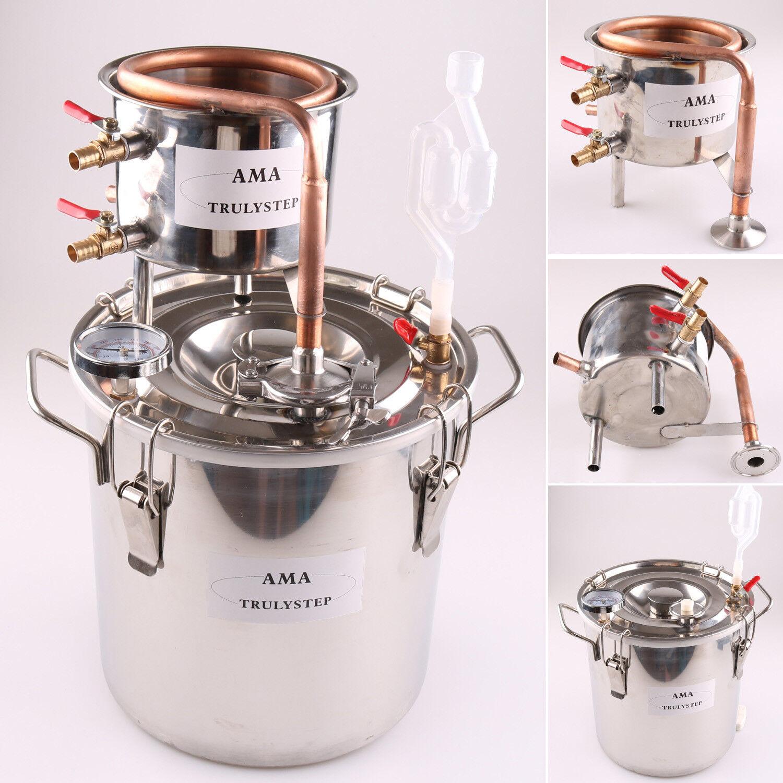 2 GAL 10L Home Distiller Moonshine Still Alcohol Water Brewing Kit Copper