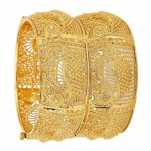 Indian Bollywood Gold Plated Traditional Women 2Pcs Bangles Bracelet Jewelry