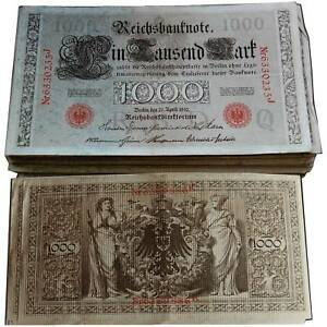 1000 Reichsmark 1910 rote oder grüne Siegel Erhaltung 3- VF-F / 649052##