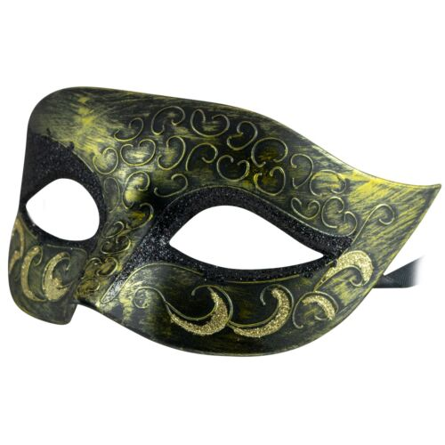 VENETIAN Unisex MENS WOMENS GOLD Glitter MASQUERADE MaskFancy Dress PROM BALL