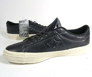 31c53bd0bf2 Mens Converse Cons One Star Leather Black White Skateboarding Shoes ...