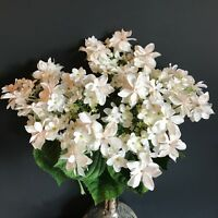 Bunch Of 5 White Faux Silk Lacecap Hydrangeas, Ivory Cream Artificial Flowers