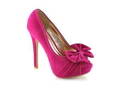 Nuevas señoras Stiletto De Tacón Alto Tribunal Peep Toe Shoes Bombas Tamaño 3-8 H182 Gamuza