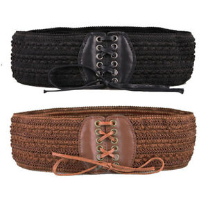 bbe462c30b Women Retro Stretch Wide Waist Belts Elastic Waistband Lace Up Cinch ...
