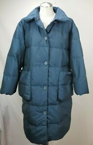 Eddie-Bauer-Womens-Long-Goose-Down-Puffer-Jacket-Winter-Coat-Size-Medium-M-Blue