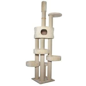 Kattens-No-1-Rascador-Vilbert-Tensor-de-Techo-Crema-Lujo-Gatos-Sisal