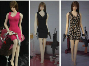 """1//12 Scale Girl Black Dress Skirt Clothes Model Toy for 6/"""" Female PH Figure Body"""