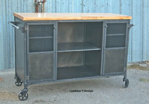 Image Is Loading Vintage Industrial Bar Cart Kitchen Island Mid Century